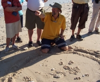 Len with animal tracks, Bigge Island