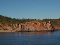 Rock formations on island