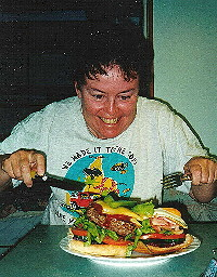 Jean attacking the Yowie burger