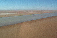 Warburton River flowing into Lake Eyre North salt flats