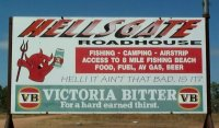 Sign at Hells Gate Roadhouse