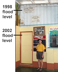 Flood levels marked on wall of pub, Mataranka Homestead